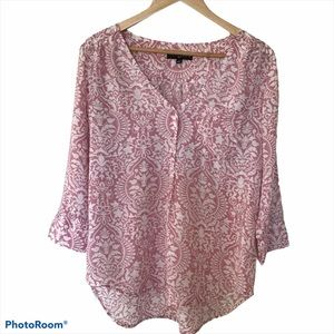 Fred David Popover Tunic Top 3/4 Sleeve Size M